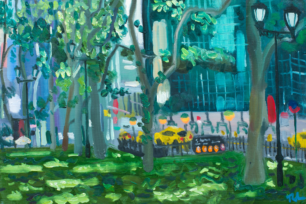 "Bryant Park #17 - June 20, 2016 - 8"" x 12"" - oil on panel"