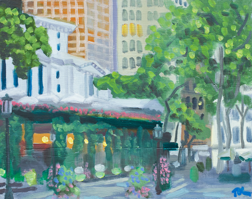 "Bryant Park #18 - June 28, 2016 - 9 1/2"" x 12"" - oil on panel"