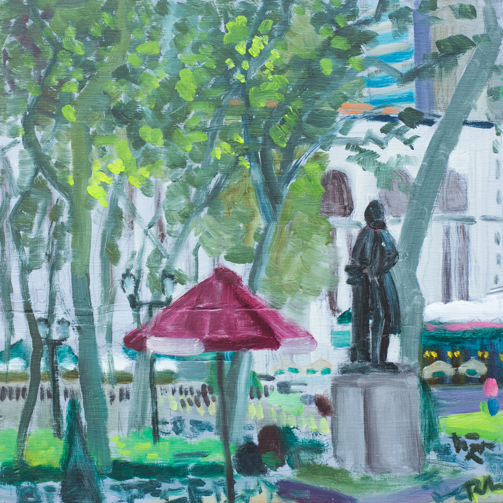 "Bryant Park #19 - June 29, 2016 - 12"" x 12"" - oil on panel"