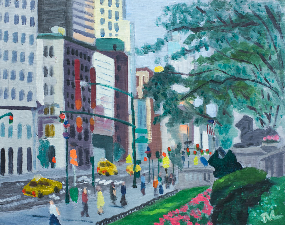"Bryant Park #20 - June 30, 2016 - 9 1/2"" x 12"" - oil on panel"