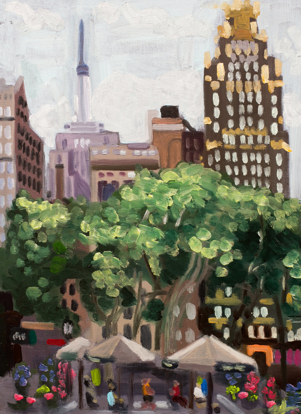 "Bryant Park #21 - July 1, 2016 - 8 3/4"" x 12"" - oil on panel"