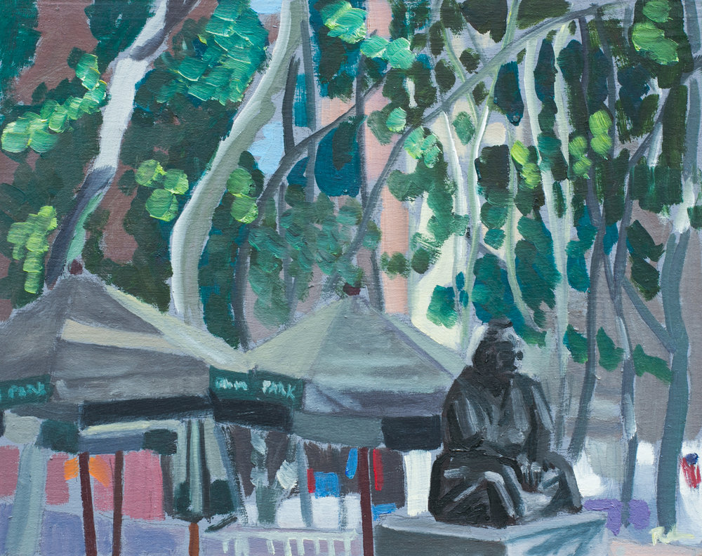 "Bryant Park #22 - July 6, 2016 - 9 1/2"" x 12"" - oil on panel"