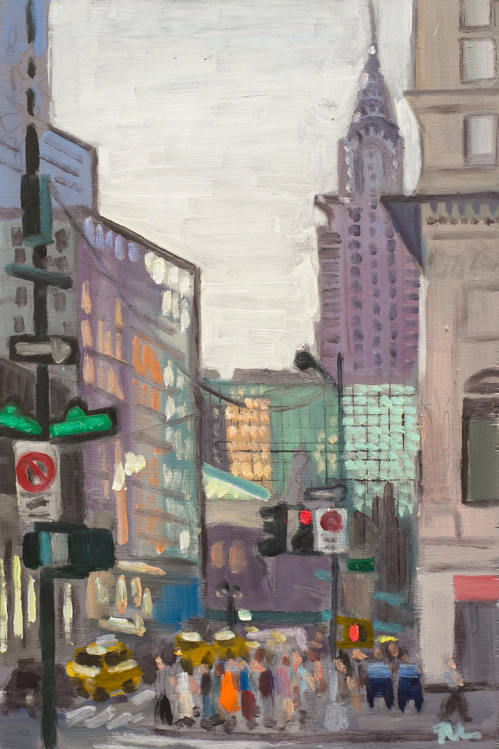 "Bryant Park #23 - July 7, 2016 - 12"" x 8"" - oil on panel"
