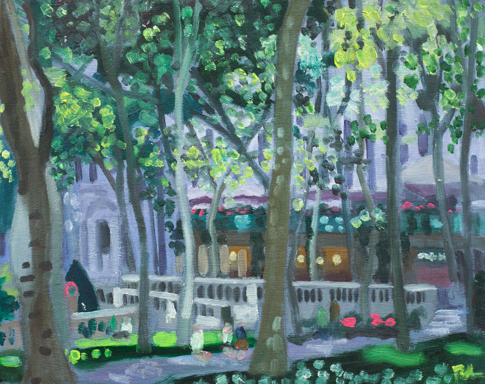 "Bryant Park #25 - July 11, 2016 - 9 1/2"" x 12"" - oil on panel"