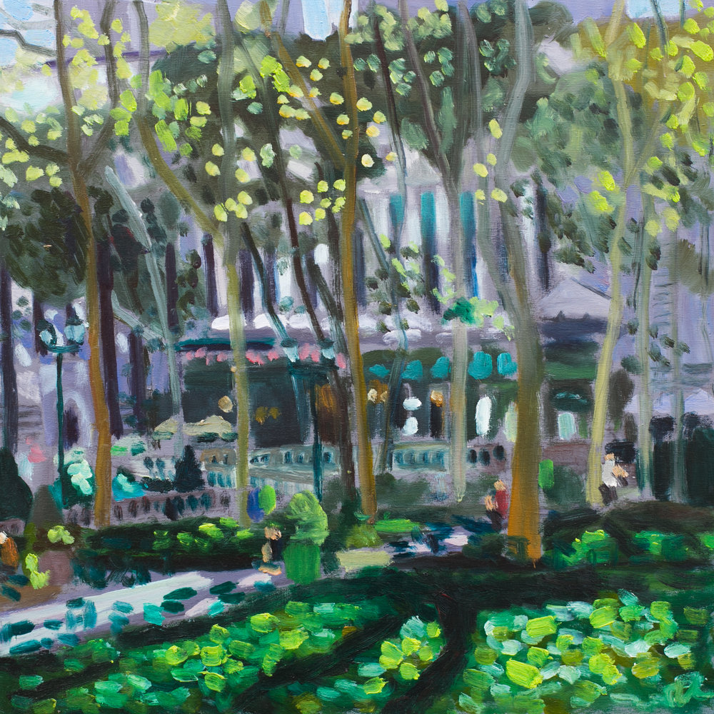 "Bryant Park #31 - September 2, 2016 - 12"" x 12"" - oil on panel"