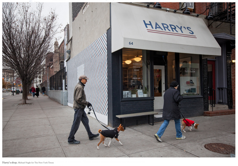 Fuji, Kepler & Johnstons appear as street decoration in  New York Times article on Harry's .
