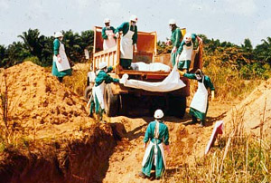 The local Kikwit Red Cross volunteers bravely buried the contagious bodies of Ebola victims, 1995.