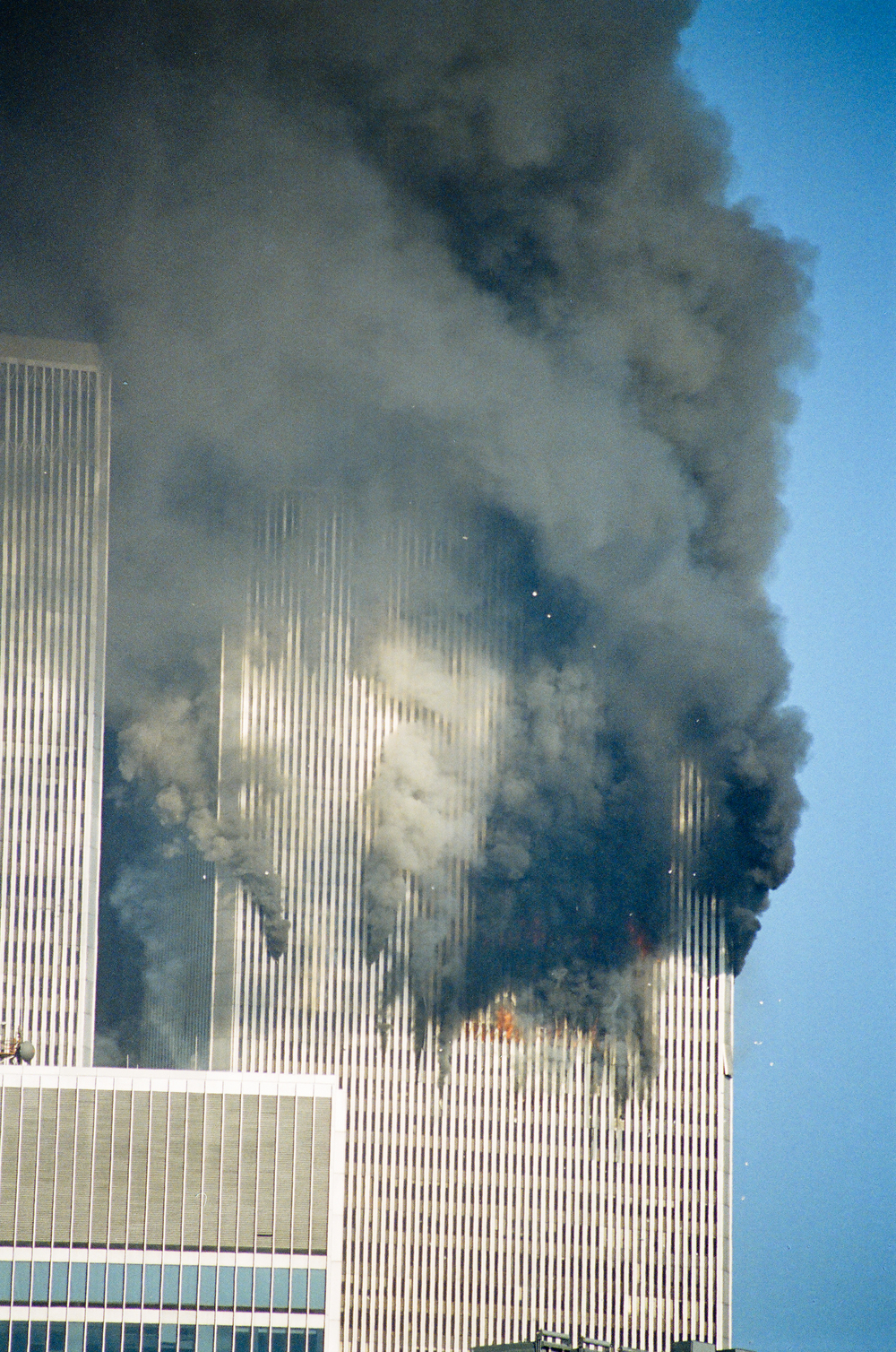Day 1, North Tower jet fuel fire, photo by Ski Shields