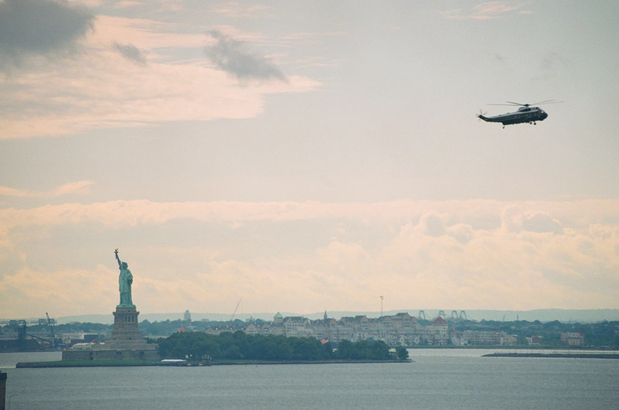 Day 4, Bush's chpper and Statue of Liberty, photo by Ski Shields