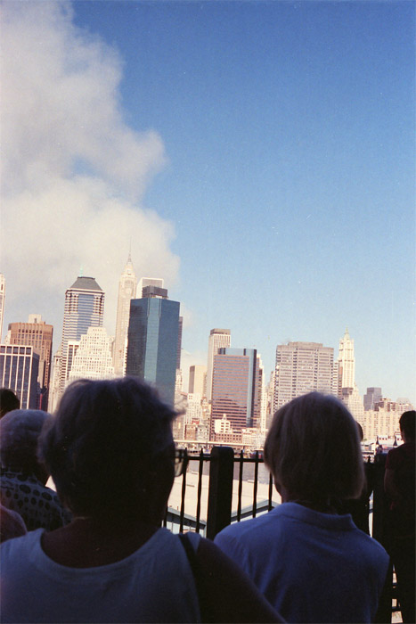 Crowd stares at the plume on Promenade
