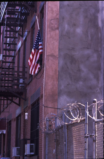 Flag at half-mast, photo by Michael Couzens, Sept. 14, Brooklyn