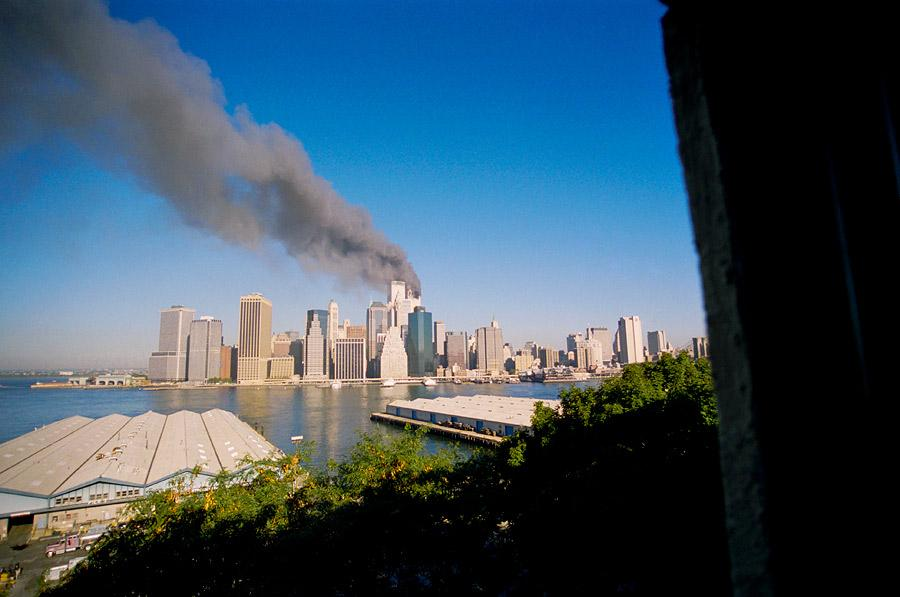 Day 1, 2nd jet hits WTC South Tower, photo by Ski Shields