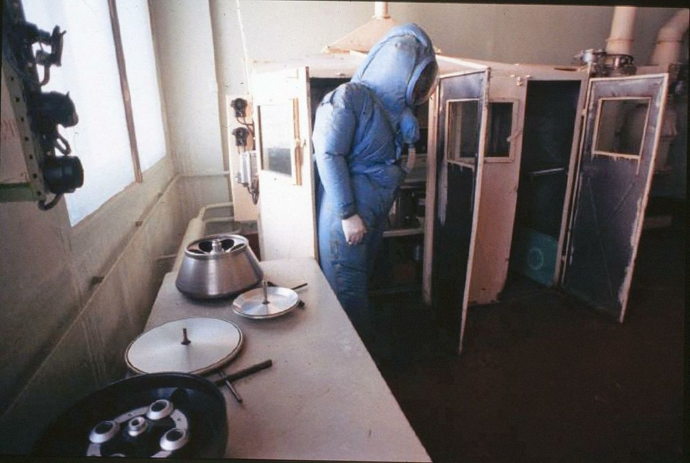 Inside the VECTOR biological warfare lab, outside Novosibirsk, Russia, scientists work with astoundingly dangerous viruses. If they get infected, quarantine in these tiny sheds would be their fate.