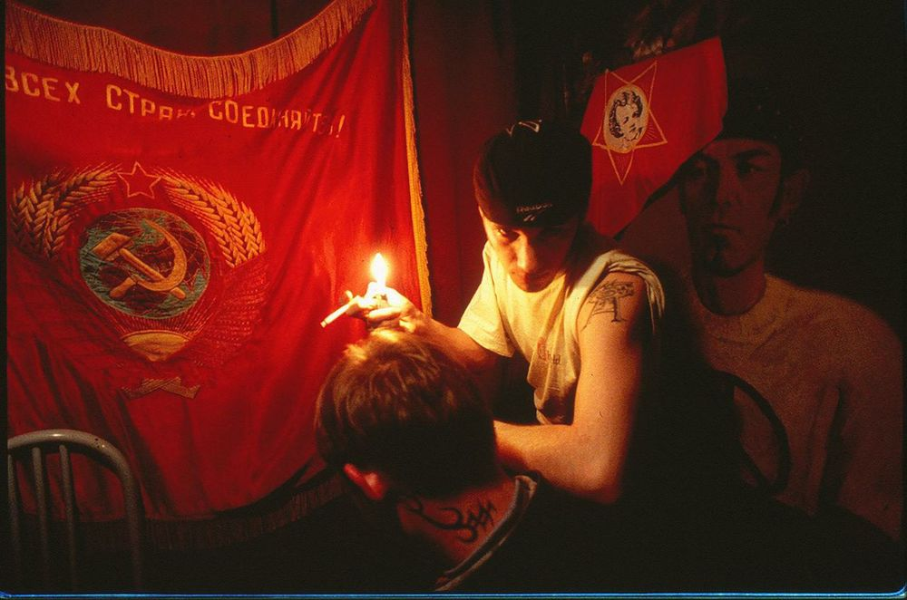"""With unemployment at record levels and little optimism about the future, alienated youths across the former USSR are turning to drugs and alcohol. Picture taken in """"Club 888"""", Novosibirsk, Russia."""