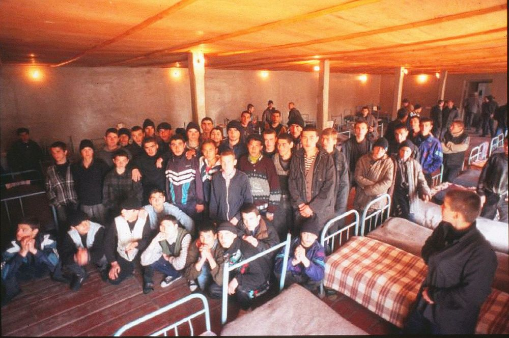 Overcrowding in the jails and prisons of the former Soviet nations is extreme, as depicted in this jam-packed jail in Tblisi, Georgia. As a result, tuberculosis is spreading rampantly.