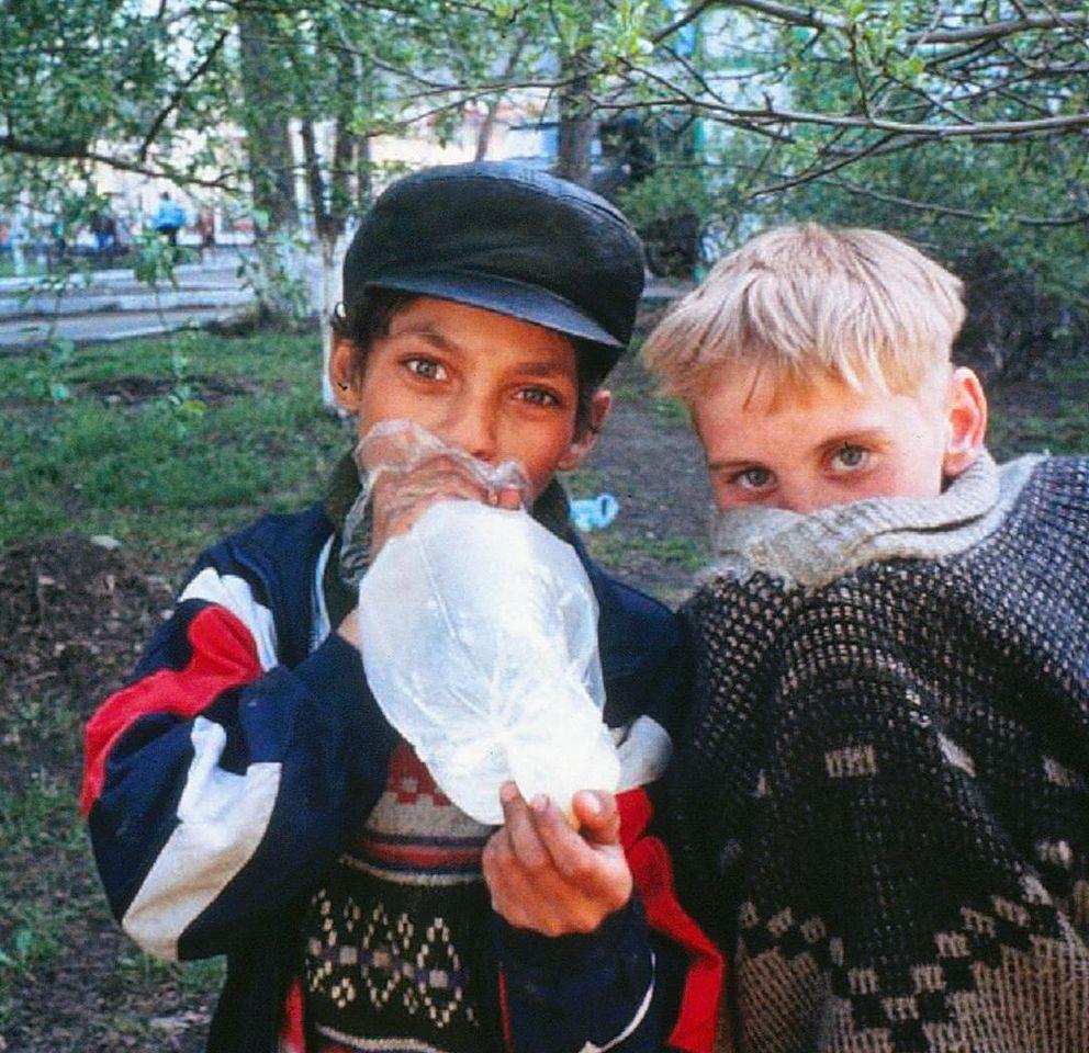 Glue-sniffing children in Novosibirsk.