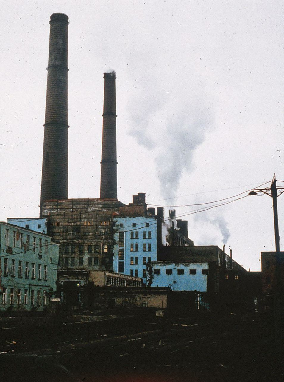 Smelters belch stench over Noril'sk, Siberia.