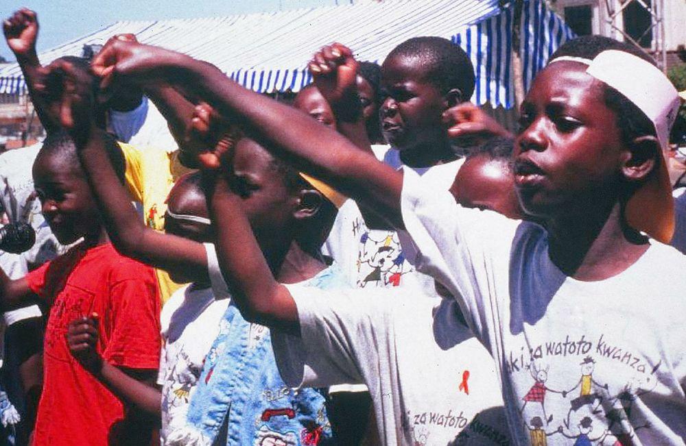 Kampala kids demand HIV prevention.