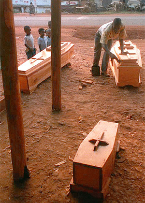 In Masaka, Uganda, business is down, the casket makers complain. But this may not be good news, as the epidemic has created so much poverty that families can no longer afford coffins for their dead.