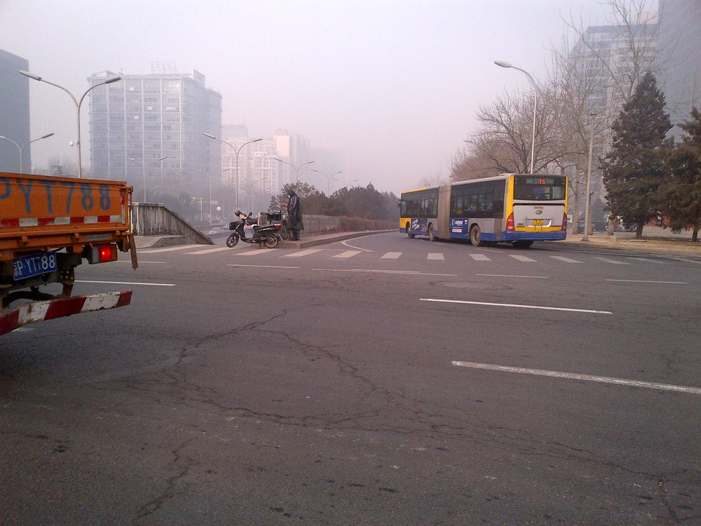 Smoggy Beijing Intersection