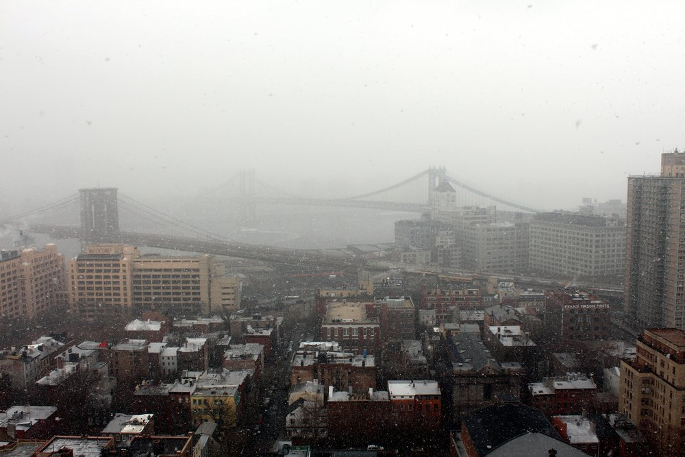 Blizzard over Brooklyn Bridge