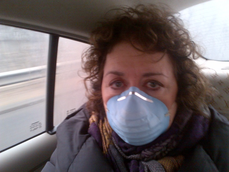 Masked against pollution in Beijing this January.