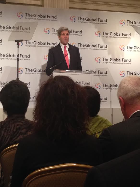 Secretary of State John Kerry at the Global Fund Fourth Replenishment (Photo by Maxine Builder)