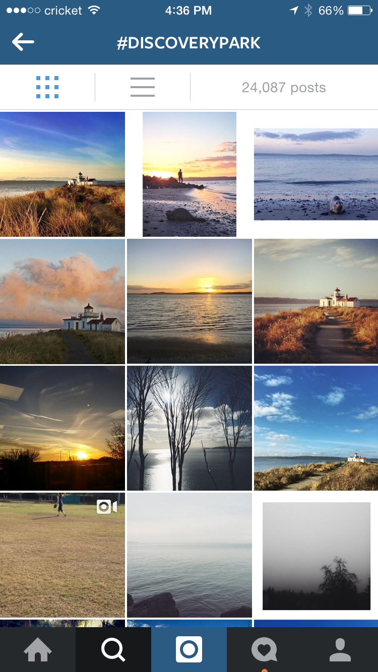 The range of photos of Discovery Park on Instagram