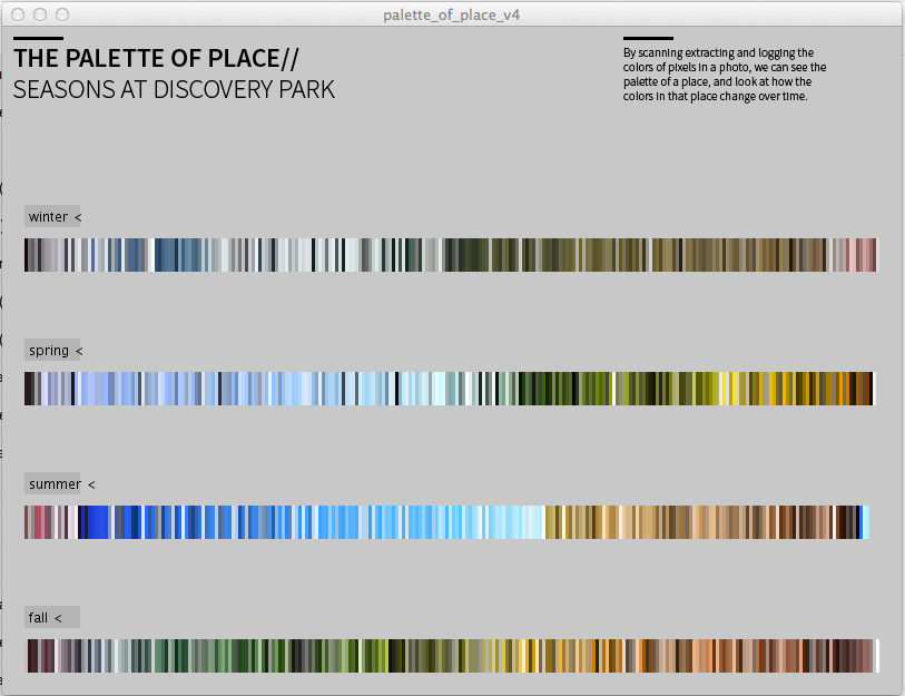 A screenshot of the interactive app I built to show the sorted and counted colors from four different images of Discovery Park, one from each season.