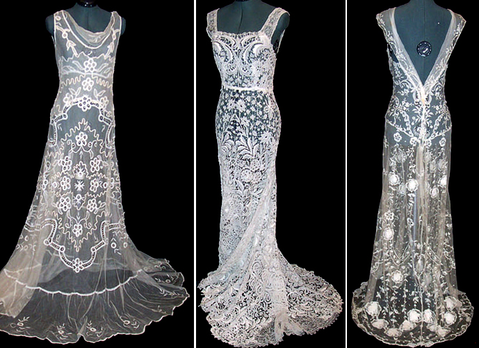 These gowns inspired the shape of the bodice at the back as well as the look and feel of the dress.