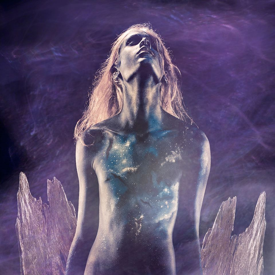 all the body paint images from this series were inspired by images from the hubble telescope.