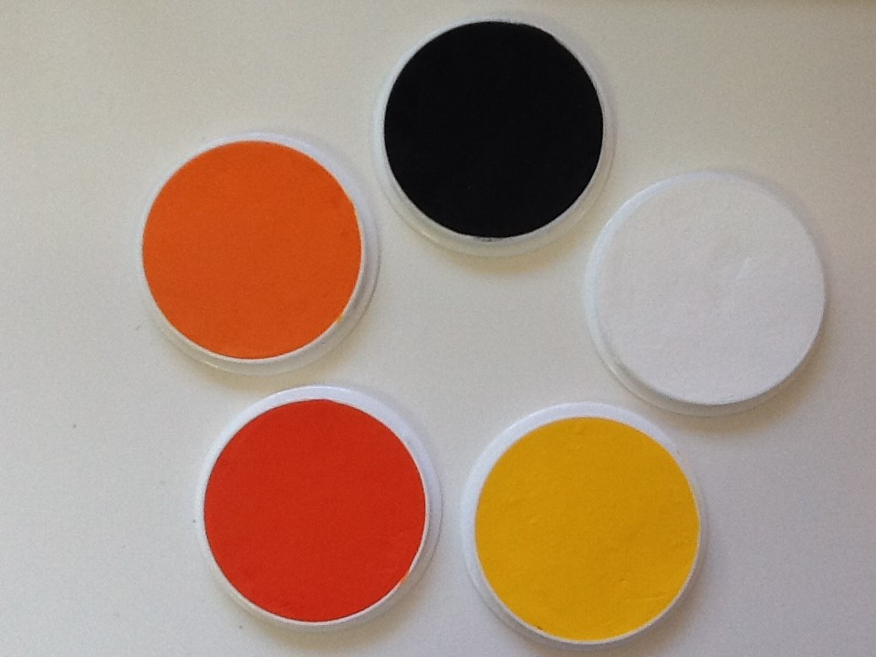 The colours you will need to complete this look. These are all KRYOLAN AQUACOLOURs which are water based
