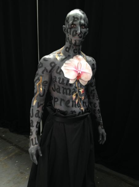 costume on backstage... final touches... ready to rock and roll!