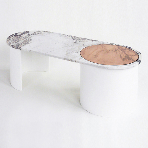 CONTOUR COFFEE TABLE - MARBLE/WOOD/GLASS   -2015-