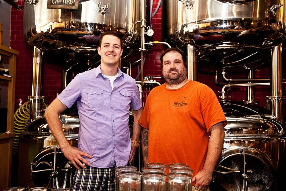 Greg (left) & Brant (right) show off their unique behind-the-bar setup at DryHop.