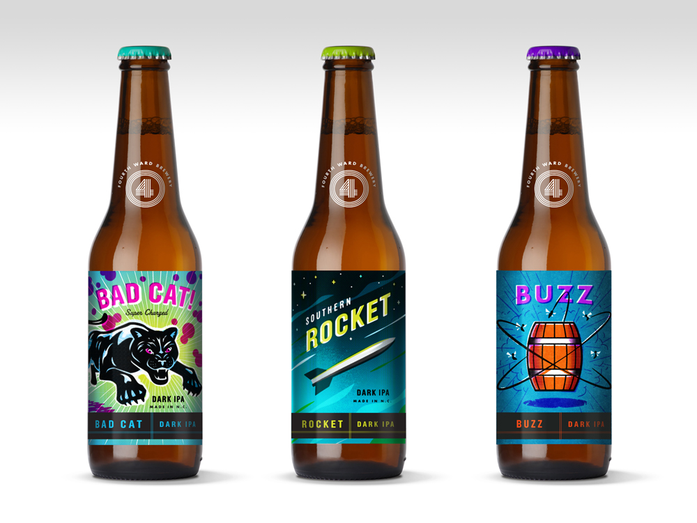 Early concepts created labels inspired by vintage firecracker packaging.
