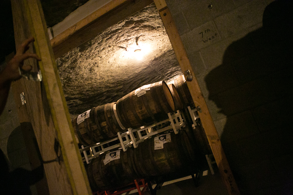A tour of the barrel-aging process, in the Founders Caves, begins. Access to this part of the Grand Rapids brewery is rarely granted.
