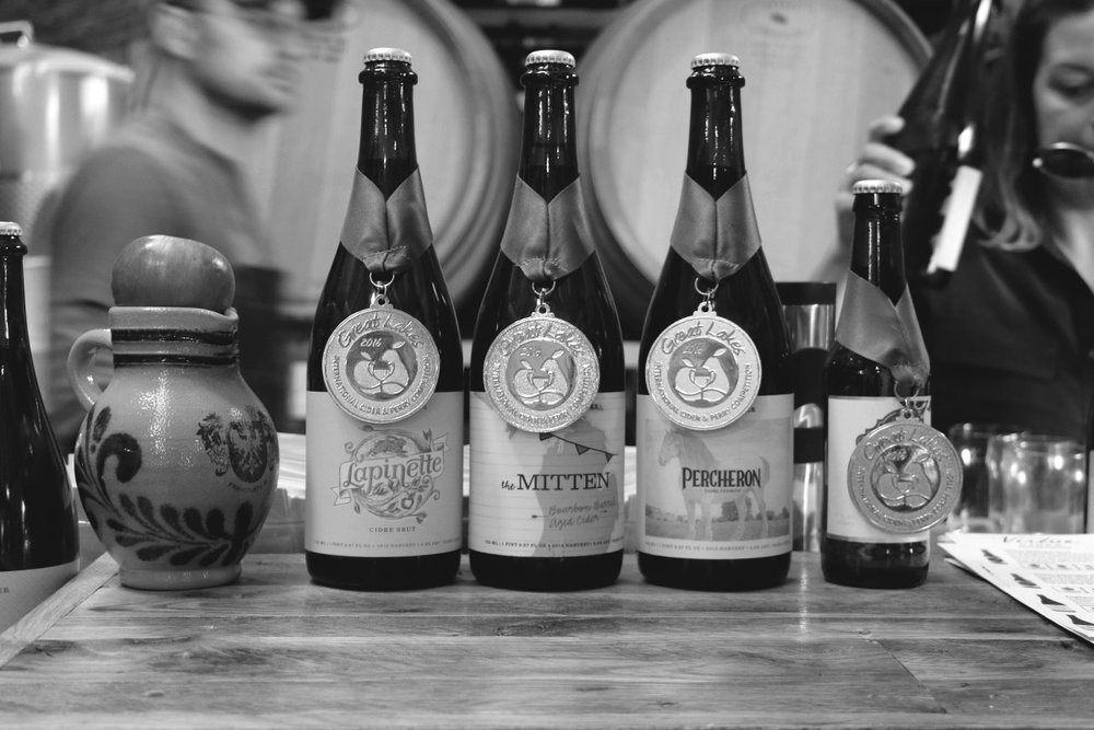 Several of Virtue's ciders have proven favorites around the Great Lakes, including  Lapinette, The Mitten, Percheron  &  Michigan Brut .