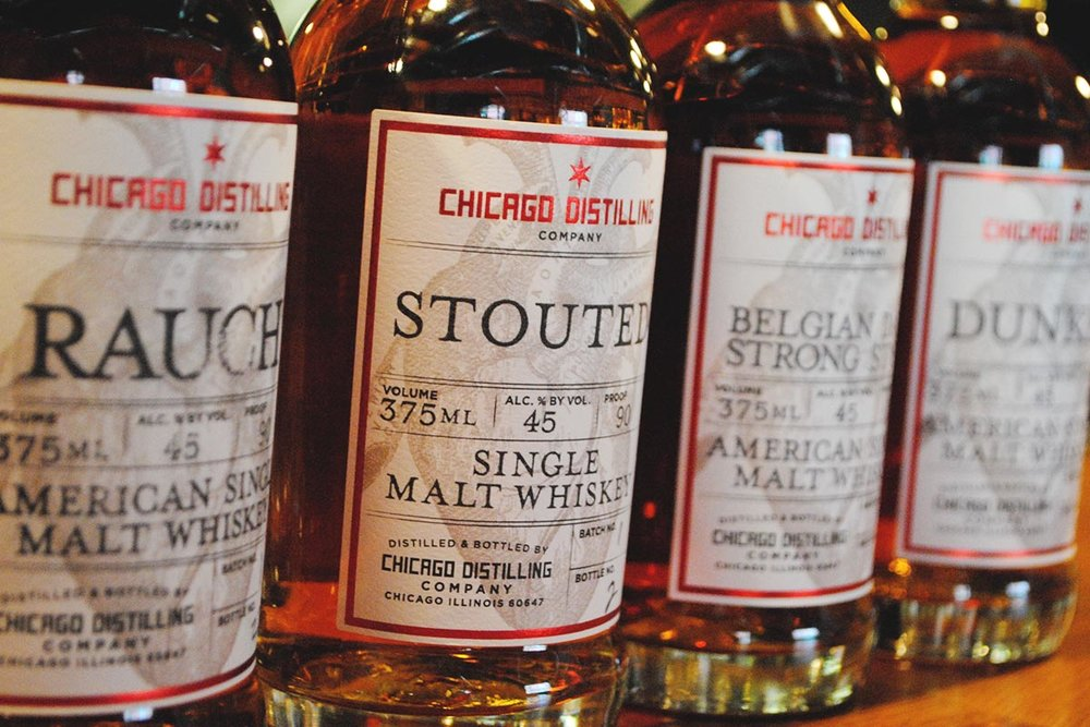Chicago Distilling Co.'s lineup of beer-inspired whiskies. [Photo: Jack Muldowney]
