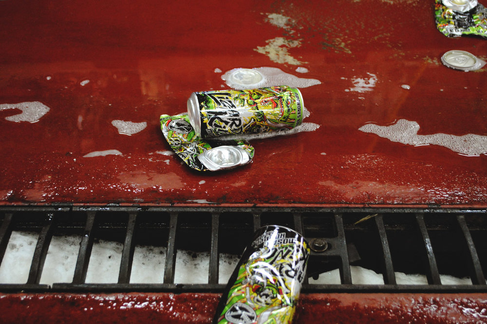 Discarded cans of Lizard King at Pipeworks, at our 100th interview. [Photo: Jack Muldowney]