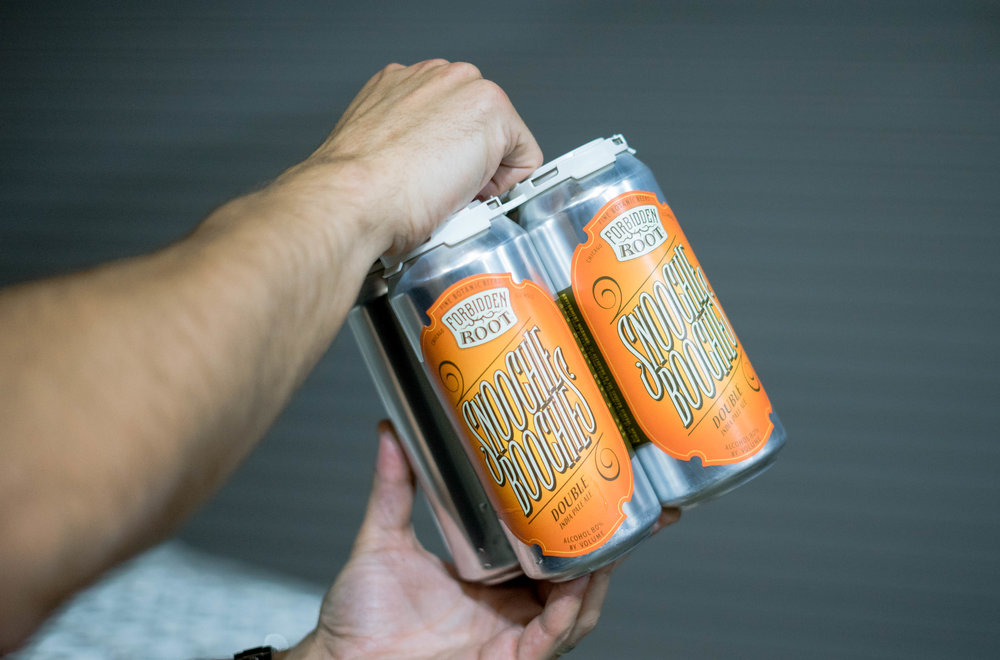 Snoochie Boochies, Forbidden Root's first canned beer in their packaing lineup.