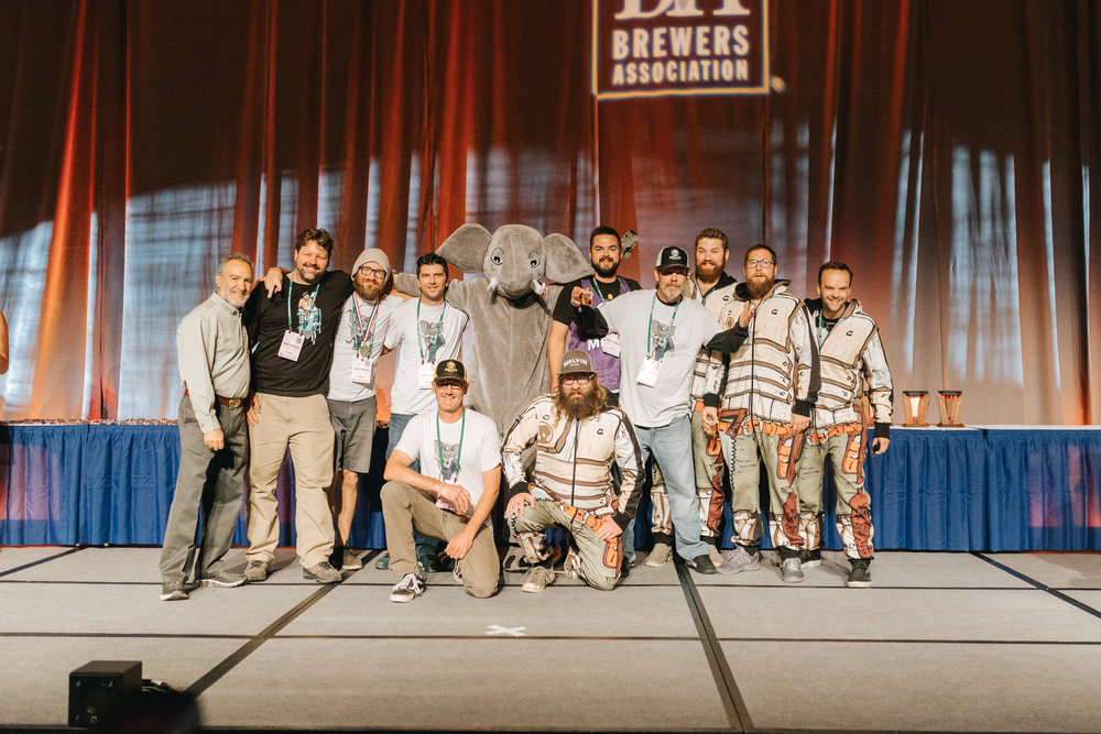 "Melvin takes the stage at GABF, collecting the 2017 ""Brewery Group of the Year"" award."