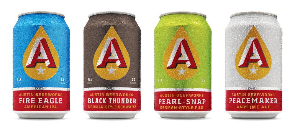 Austin Beerworks' core lineup.