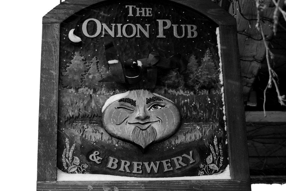 The sign outside Wild Onion's original brewpub, in Lake Barrington, Illinois. Photo by THR.