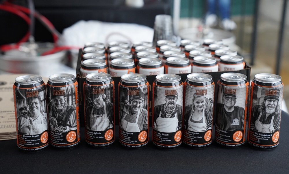 The 'StarShuckers' on limited edition cans of Oyster Stout.
