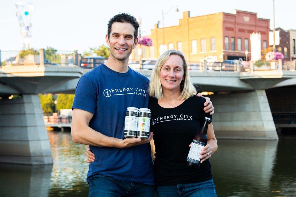 Energy City Brewing founders, David & Heidi Files stand beside Batavia's Fox River