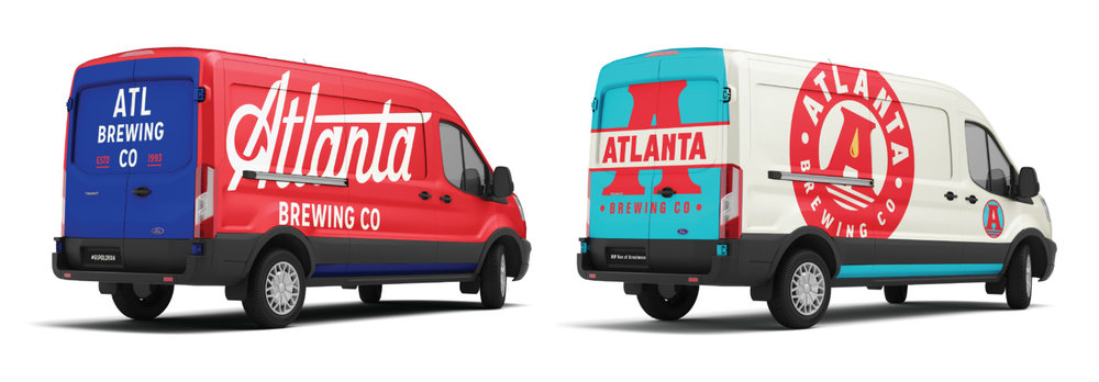 Two visual directions presented above as apparel and vehicle wraps, on left & right.