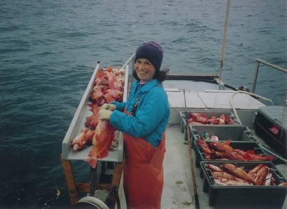 Barbara Healy Stickel fishing for red rockfish off Point Sal, CA—around 1994