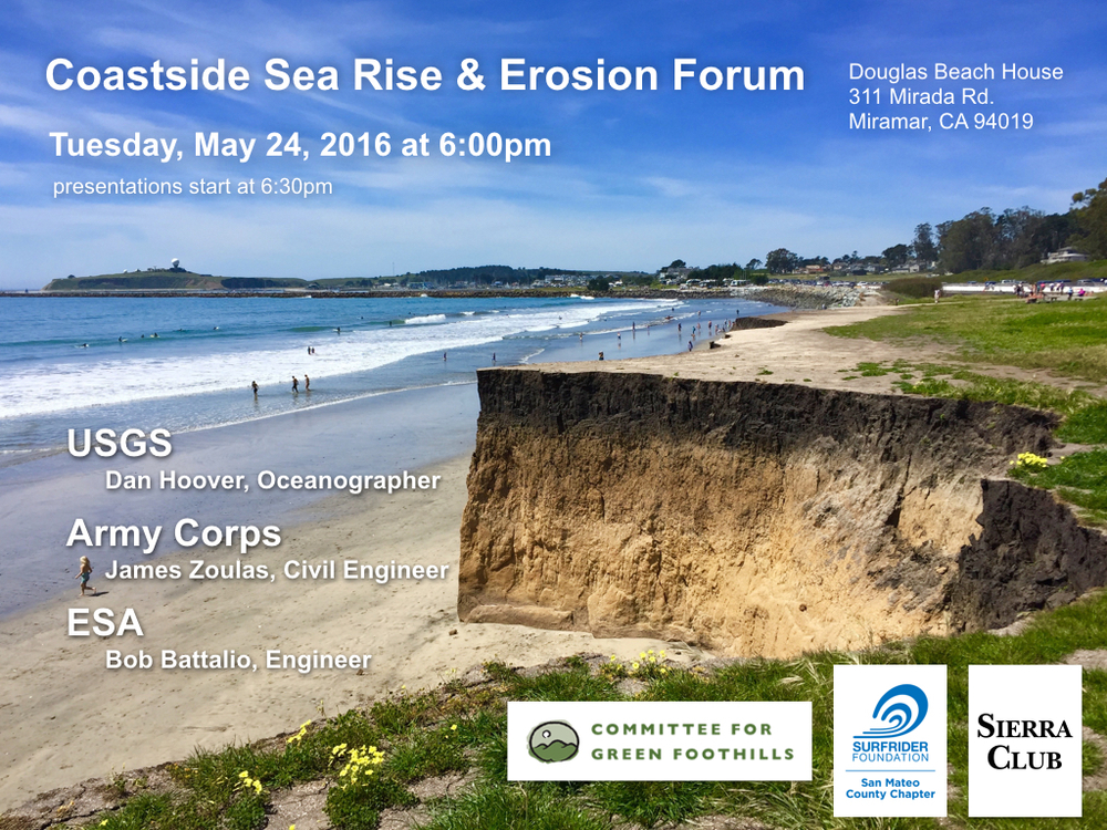 This event was inspired by the recent Pacifica Sea Level Rise Forum, and we hope it will be just as well received on the Coastside.