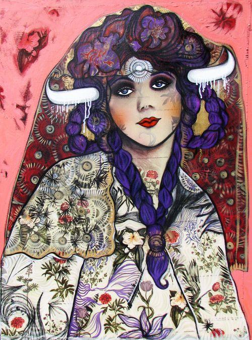 Hickey, S. 2011. Veiled Marie pleine de grâce, 120 x 90cm, huile et techniques mixtes sur toile 5.jpg